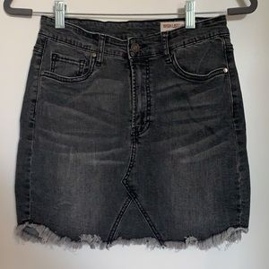 Black frayed jean skirt size small